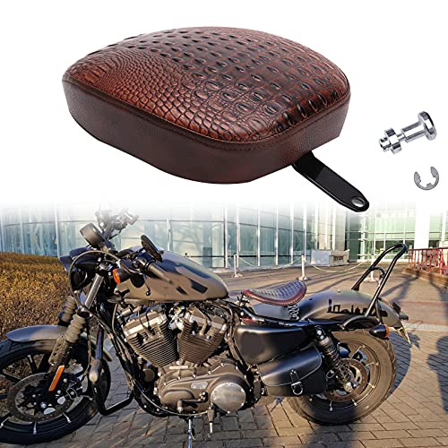 Brown Crocodile Leather Motorcycle Rear Passenger Cushion Pad For Harley Sportster XL1200 883 72 48 2010-2015