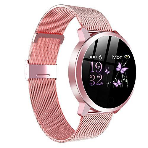 LK-HOME Smartwatch, Touchscreen-Uhr, 24-Stunden-herzfrequenz- Und Blutdruckmessgerät, Wasserdichter Fitness-Tracker, Schrittzähler, Informations-Push-Funktion,Rosa