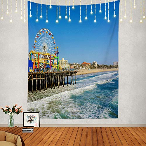 ABLINK Los Angeles Tapestry, Santa Monica California Wall Hanging Large Tapestry Psychedelic Tapestry Decorations Bedroom Living Room Dorm(82.7 X 59.1 Inches, Brown 1) 60x51(in)