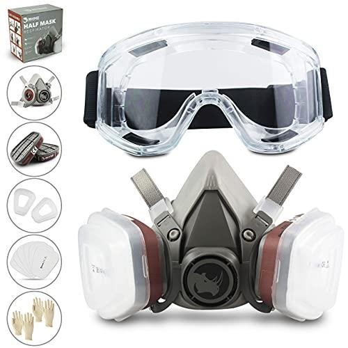 RHINO Smart Solutions - Cubierta Facial (Semi-Cara) Antipolvo Reutilizable con Gafas, Guantes, 6 Filtros de Protección de Partículas para Pintura Industria Gas Carpintería Bricolaje Barnizado