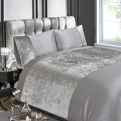 Luxury Crushed Velvet Panel Double Duvet Cover Set