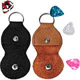 Guitar Leather Pick holder Keychain Case Black & Brown Pack of 2