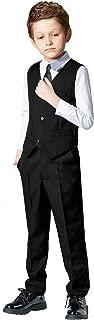 Boys 4 Pieces Suits Slim Fit Outfits Vest Sets Black Blue Formal Dresswear for Boy