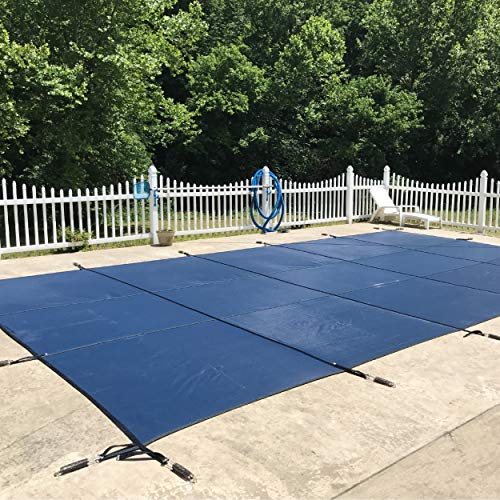 of mesh pool covers WaterWarden Safety Inground Pool Cover, Fits 12' x 20', Blue Mesh – Easy Installation, Triple Stitched for Maximum Strength, Includes All Needed Hardware, SCMB1220
