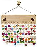 Colgante de pared con recordatorio de cumpleaños de calendario de madera, tablero en blanco con 100 discos redondos de PCS, tablero de calendario de recordatorio de cumpleaños de amigos familiares