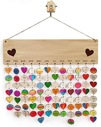 Lot de 100 disques en bois avec inscription Rappel pour calendrier danniversaire Avec décorations en bois non finies Pour loisirs créatifs en bois Pour la famille,les amis et les amis Décoration