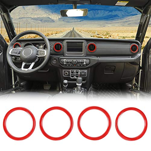 JeCar Interior Trim Kit Dashboard Air Conditioner Vent Ring Interior Accessories for 2018 2019 2020 Jeep Wrangler JL, Red