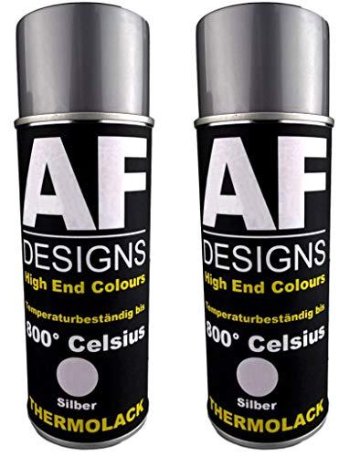 Alex Flittner Designs Thermolack Spray 2 Spraydosen Ofenlack Auspufflack Hitzebest. 800 °C Silber 400ml
