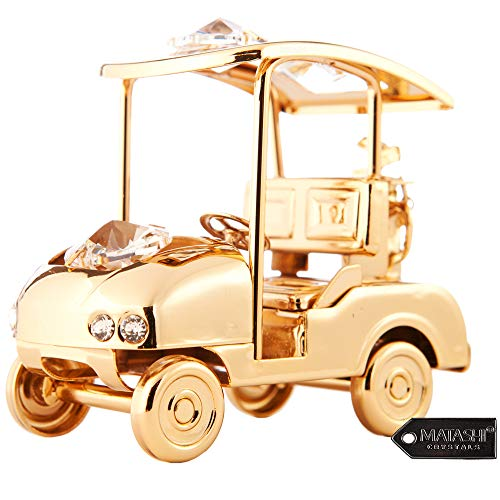 Matashi 24K Gold Plated Crystal Studded Golf Cart Table Top Ornament For Home Decoration, Living Room, Fathers Day, Mothers day, Christmas