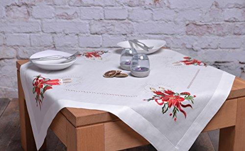 Crema Ecru tovaglia tovaglia natalizia Natale candele Quadrato Candle