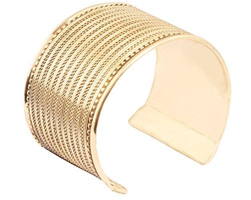 Touchstone indischen Bollywood-Wunsch Messingfuß Schöne Braid Art Thick Wrist Enhancer Designer Schmuck Armreif In Goldton für Frauen.