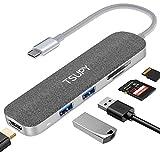TSUPY HUB USB C a HDMI 4K, OTG Adaptador USB C HDMI con 2 Puertos USB 3.0 5Gbps y Lector de Tarjetas SD/TF Hub USB Tipo C Thunderbolt 3 para MacBook, Samsung, Huawei, Más Tipo C Dispositivos