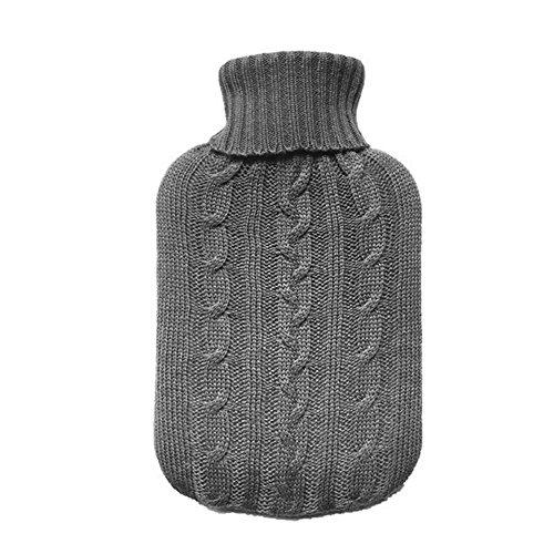 TRIXES Grauer Wärmflaschenbezug Strickpullover-Überzug Strickbezug für Wärmflasche