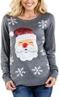 Women's Red Santa Sequin Ugly Christmas Sweater - Cute Santa Holiday Sweater with Sequins