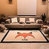 GWELL Kinder Cartoon Spielmatte Spieldecke Eckig Kinderteppich Krabbelmatte Krabbeldecke für Kinderzimmer 145×195cm Fuchs