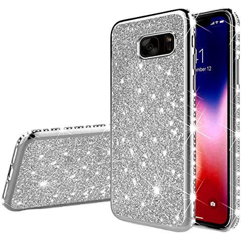 Jinghuash Kompatibel mit Galaxy S7 Handyhülle Glitzer Bling Glänzend Strass Diamant Hülle Ultradünn Stoßfest Überzug TPU Silikon Tasche Schutzhülle Kompatibel mit Galaxy S7-Silber