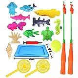 bloomma Juego De Juego De Pesca Magnético para Niños Bathtime Pool Party con Pole Net Net, Peces De Plástico Flotante - Educación para Niños Pequeños Enseñando A Pescar Juguetes