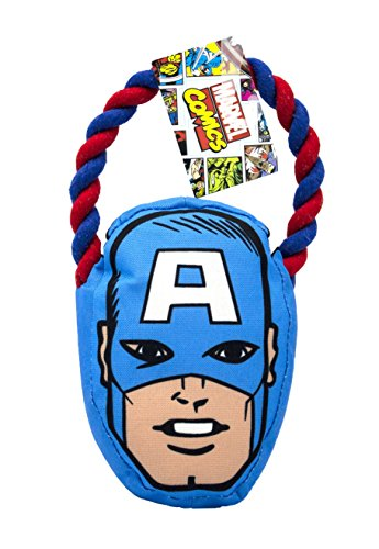 Marvel Comics for Dogs Captain America Seilzugspielzeug für Hunde | Superhelden-Spielzeug für alle Hunde und Welpen, blau