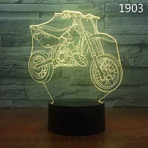 ZSSYD 16 Farben Kinderlampe Schlummerlicht 3D Motorrad Fahrrad Motorrad Nachtlicht Acryl Laser Illusion Farbe Fernbedienung Kinder Freunde Geschenk Spielzeug 3D-Nachtlicht Für Kinder Mit Fernbedienun