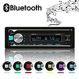 XYFANG Autoradio Bluetooth, 60w x 4 Car Stereo Bluetooth, FM / USB / TF / AUX , Soutien Audio Numérique avec Télécommande Sans Fil, 7 Couleurs de DEL Ajustables