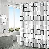 Duschvorhang,180x200cm Duschvorhang Anti-Schimmel,Shower Curtains Halbtransparent,Anti-Bakteriell Badewanne Vorhang,Wasserdichter Badezimmervorhang,mit 10 Duschvorhängeringen