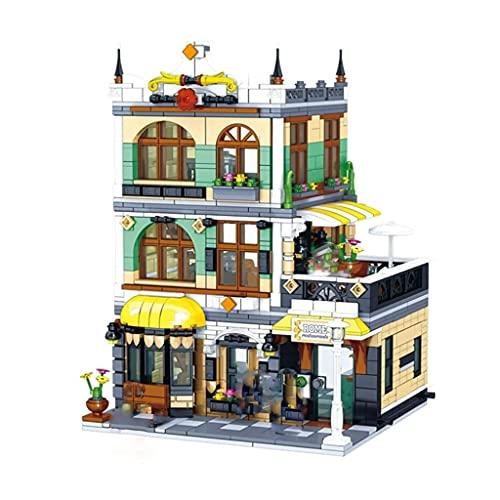 ZDVHM Bausteine Cafe City Street View Building Blocks 3D Puzzle Modell DIY Spielzeug Kreative Geburtstagsgeschenke Für Kind Kinder Pädagogische Spielzeug 1186 Stück