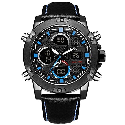 WNGJ Reloj de Hombre, Correa de Cuero, Negro, Embalaje Exquisito, Relojes Impermeables Luminosos multifuncionales, Reloj de Negocios de Moda Deportes de Alta Gama Blue