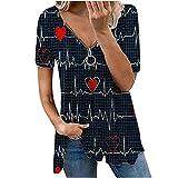 AMhomely Camiseta de verano para mujer, diseño de cuello en V, manga corta, informal, talla grande, elegante, talla Reino Unido