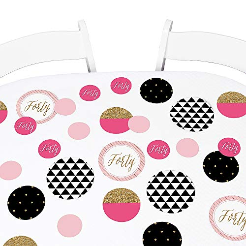 Big Dot of Happiness Chic 40th Birthday - Pink, Black and Gold - Birthday Party Giant Circle Confetti - Birthday Party Decorations - Large Confetti 27 Count