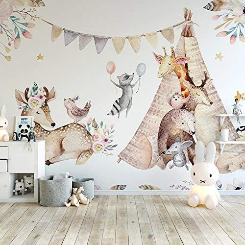 Papier peint Mural 3D personnalisé dessin animé Animal wapiti girafe enfants pépinière chambre fond peinture murale papiers peints décor à la maison