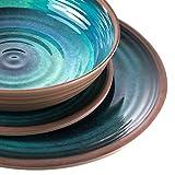 Melamin Geschirrset für 4 Personen Ton Optik blau grün + 4 Gläser 450 ml - 16 teilig - Campinggeschirr - Trinkglas - Kristall Wasserglas stabil bruchsicher - leicht abwaschbar - 16 Teile - Camping Set - 6