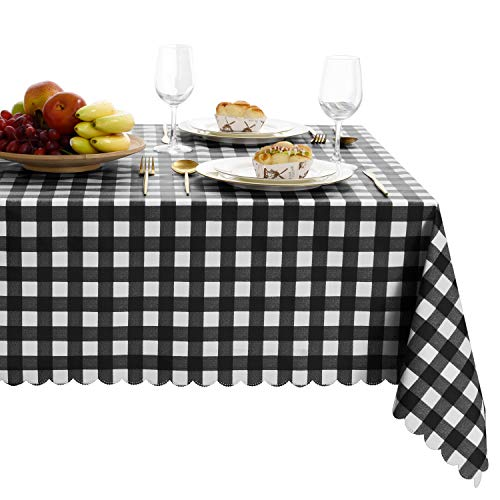 Hiasan Checkered PVC Tablecloth Square - 100% Waterproof Spillproof Stain Resistant Wipeable Vinyl Table Cloth for Outdoor Picnic Kitchen Dining, 54 x 54 Inch, Black and White