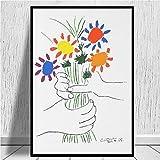 Pablo Picasso Bouquet of Peace 1958 (Flowers Bouquet with Hands) Or Le Bouquet De La Amitié (Amistad) Lienzo ImpresióN Famoso Pintura 40x60cm Cuadros Decoracion Salon Sin Marco