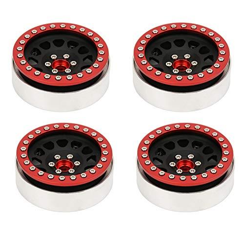 Tomantery Aleación de Aluminio Exquisita Mano de Obra Mecanizado CNC de Alta Gama 2.2 Pulgadas RC Wheel Beadlock RC Rim con Nueva Apariencia para 1:10 RC Car(4 Pieces)