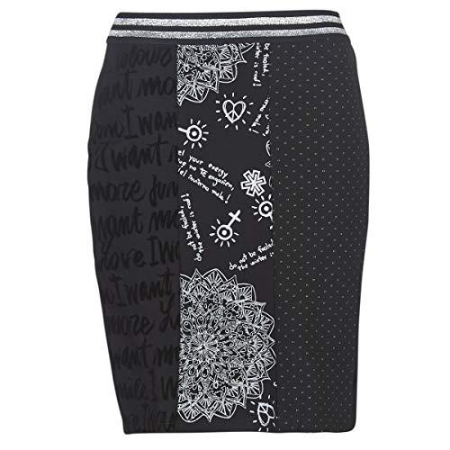 Desigual Skirt Craig Falda, Negro (Negro 2000), Large para Mujer