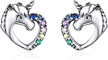YQM Sterling Silver Heart Shape Cute Animal CZ Unicorn Stud Earrings