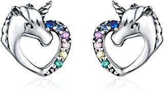 Hypoallergenic Stud Earrings for Girls Women S925 Sterling Silver Love Heart Cute Animal CZ Unicorn Gifts for Girl Women