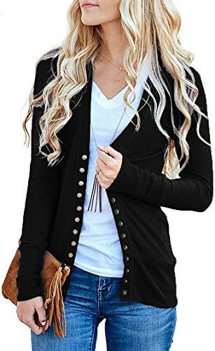 VERABENDI Women Sweaters Long Sleeve Button Down V Neck Knit Cardigan Black M