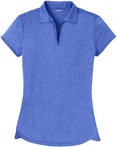 Joe's USA DRI-Equip(tm) Ladies Heathered Moisture Wicking Golf Polo-Royal-M