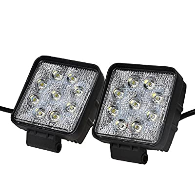 KAWELL 2 Pack 4.2 Inches 27W Square Thin Type Off Road LED Flood Work Lights for ATV SUV Boat Truck Fishing Deck Driving