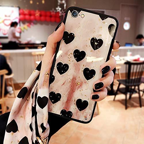 MFKW IPhone case, retro, dames, liefde, gouden folie, siliconen zacht, lanyard met sjaal, 6p / 6splus retro love [Give the same scarf lanyar