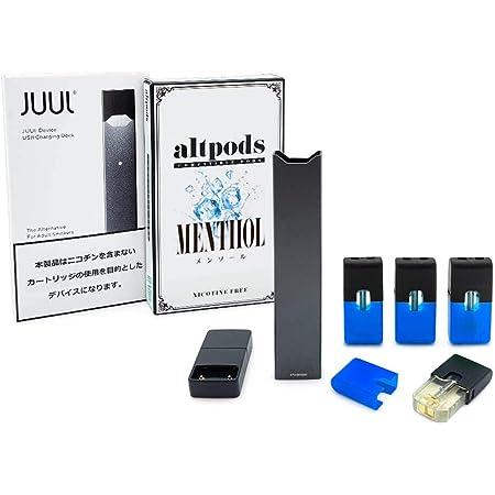 電子タバコ JUUL正規品+altpods 互換POD スターターキット VAPE (Black(ブラック), MENTHOL(メンソール))