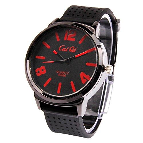 Somviersb Reloj de Acero Inoxidable Correa clásica Redonda Reloj de Cuarzo con Silicona de Cuarzo con visualización de Fecha/Reloj de los Pares 2020 Última Reloj de los Deportes al Aire Libre de los