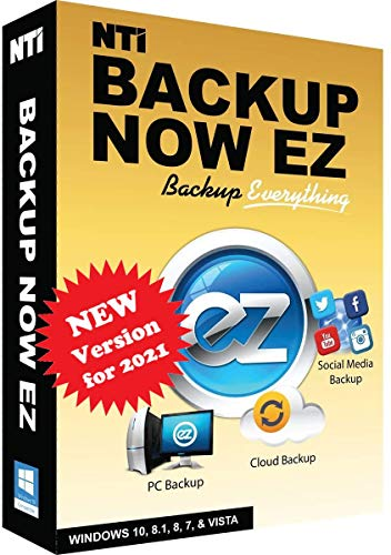 NTI Backup Now EZ 7 | Backup Everything to Anywhere | PC Backup or Image Backup | Social Media Backup | Cloud Backup | File & Folder Backup | Scheduled Backup | Available in Download and CD-ROM