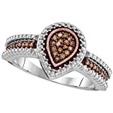 Sonia Jewels Size - 10-925 Sterling Silver Rose Gold-Plated Round Chocolate Brown Diamond Engagement Ring OR Fashion Band Channel Set Pear Shaped Halo Ring (.15 cttw)