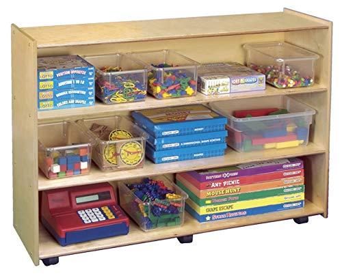 Childcraft 1301523 Mobile Open Shelving Unit, Birch Veneer Panel, 4-Coat UV Acrylic, 36' x 48' x 14-1/2', Natural Wood Tone