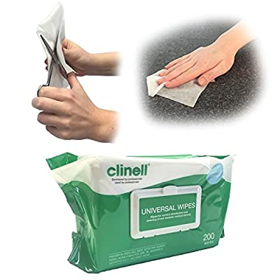 Clinell UNIVERSAL MULTIPURPOSE SURFACE DISINFECTION NHS APPROVED SKIN FRIENDLY MEDICAL CLEANING 200 WIPES from Steroplast
