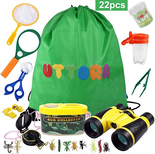 UTTORA Fernglas Kinder, Draussen Forscherset für Kinder 22 Stück Spielzeug Set mit Bug Catcher Pinzette Insect Viewer Kompass Lupe & Schmetterlingsnetz für Camping und Outdoor-Sport