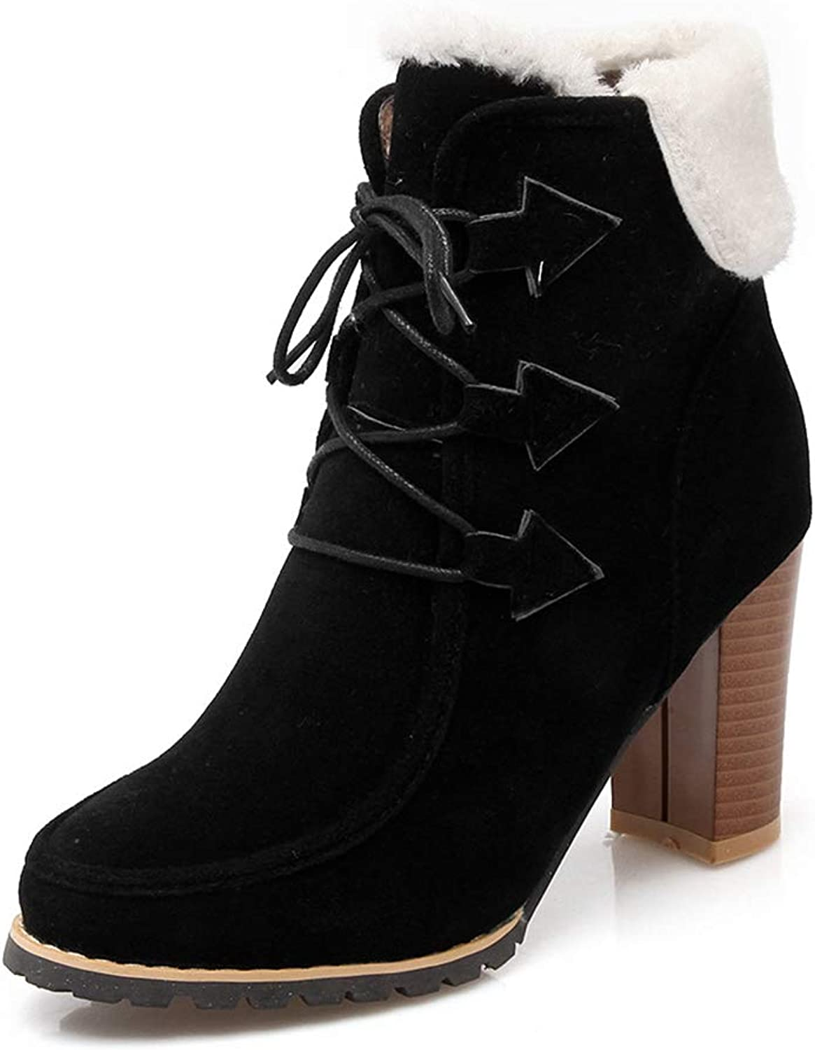 CYBLING Womens Shearling Cuffed Platform Bootie Round Toe Stacked Lug Heel Lace Up Ankle Boots