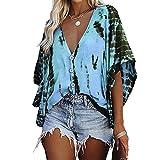 Elesoon Camisa de verano para mujer con rayas de tie-dye para trajes de baño de encubrimientos de talla grande, de chifón de murciélago, A-azul cielo, 40